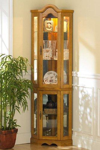 Southern Enterprises Lighted Corner Curio Cabinet, Golden Oak Finish with Antique Hardware