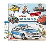 Buchspielbox Hör mal (Soundbuch): Los vehículos + Fahrzeug-Sticker Fahrzeugaufkleber libro de cartón para niños a partir de 2 años