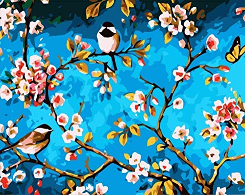 QGHMV DIY 5D Diamond Painting by Number Kits Beautiful Plum and Bird Round Full Drill Embroidery Arts Craft Canvas Supply for Home Wall Decor(16X20inch)