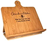Grandma Recipe Cookbook Holder Stand Gift - Custom Engraved Bamboo Cutting Board Foldable Chef Easel Metal Hinges Kickstand iPad Tablet Compatible Christmas Birthday Kitchen Decor Design (10.25x10.25)