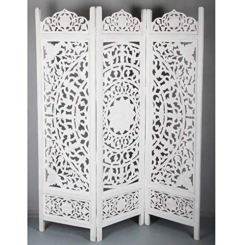 Casa Moro Orientalischer Holz-Paravent Raumteiler Faysal 152x182 cm Weiss 3 teilig aus Echtholz & MDF handgeschnitzt | Kunsthandwerk Pur | Trennwand als Raumteiler & schöne Dekoration | PV5540