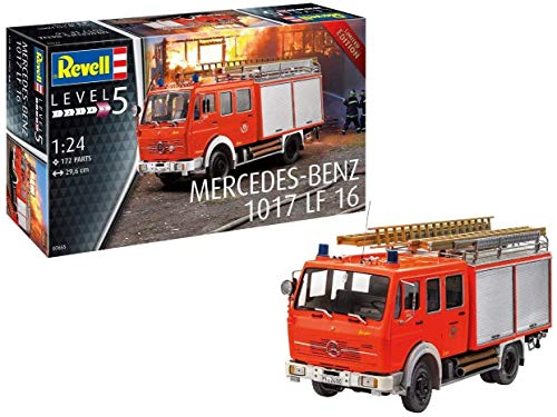 Revell 07655 Mercedes-Benz 1017 LF 16, Feuerwehrmodellbausatz 1:24, 29,6 cm, Limited Edition originalgetreuer Modellbausatz für Experten, unlackiert