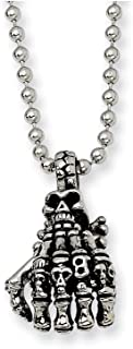 Stainless Steel Skull Hand Pendant 22 Inch Chain Necklace Charm Gothic Fashion Jewelry for Women
