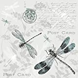 20 servilletas con libélulas en postal en estilo vintage para decoupage y técnica de servilletas,...
