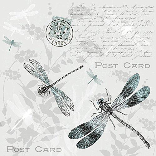 Servietten Alt und Modern 20 servilletas de libélulas en Postal en Estilo Vintage para decoupage y técnica de servilletas, 33 x 33 cm