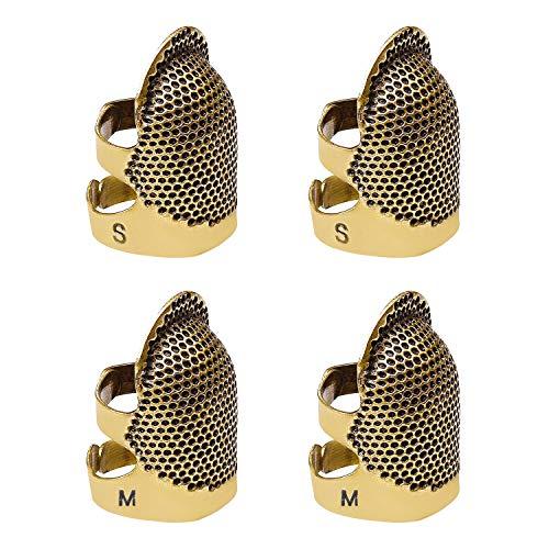 TADAE 4 Pack Nähen Fingerhut Finger Protector, einstellbare Finger Metall Schild Protector Pin Nadeln Nähen Quilten Handwerk Zubehör DIY Nähwerkzeuge Handarbeiten (2 Größen)