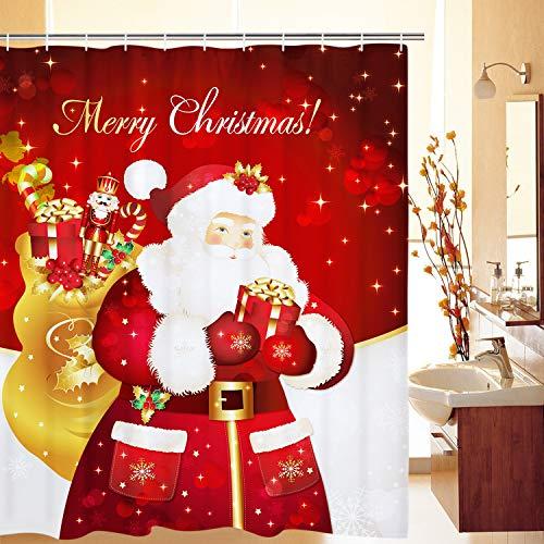Elloevn Fröhliche Weihnachten Duschvorhang, Weihnachtsmann Merry Christmas Bade Duschvorhänge für Erwachsene, Wasserdicht Antischimmel Shower Curtain, 175x178 cm