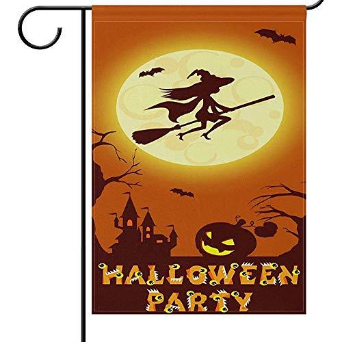 Zome Lag Tuin Vlaggen Thuis Decoratieve Huis Yard Vlag Halloween Pompoen Herfst Vakantie Tweezijdig Huis Yard Vlag, Heksen Vliegen Op Bezem Kasteel Maan Seizoensgebonden Outdoor Vlaggen Bannner 32X45.7CM