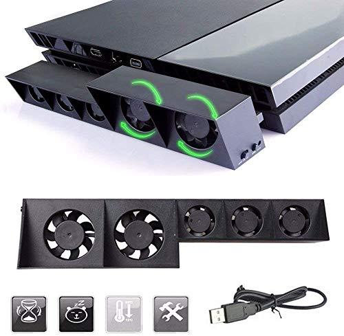 Thlevel Lüfter für PS4, Externer USB-Kühler 5 Lüfter Turbo Temperaturregelung Lüfter für Sony Playstation 4 Gaming Console