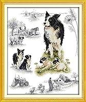クロスステッチ刺繍キット雪の中で多くの動物犬 11CT DIY 手作りCross Stitch ホームの装飾 ,手作り刺繍 正確な図柄印刷クロスステッチ 家庭刺繍装飾品-40x50cm