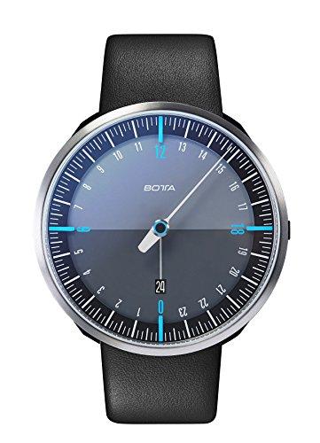 Botta-Design UNO 24 Plus Quarz Armbanduhr - 24H Einzeigeruhr, Edelstahl, Saphirglas Antireflex, Lederband (45 mm, Schwarz)