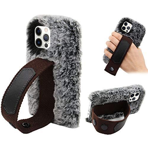 Cestor Mode Plüsch HandyHülle für Huawei P40 Pro,Frauen Niedlich Winter Warm Pelzig Weich Flauschige Faux Pelz Silikon Hülle mit Hand Armband Stand,Grau