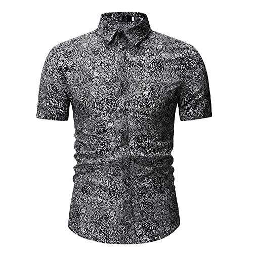 Playa Shirt Hombre Verano Cárdigan Estilo Hawaiano Hombre Henley Camisa Moderno Básico Ajustado Elástico Hombre Manga Corta Casual Vacaciones Herren Camisa H-Grey XXL