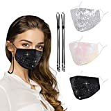 Gomust Glitter Sequin Cloth Face Mask Women Fashionable Breathable Reusable Sparkly Adjustable Ear Loops Bling Fancy Decorative Design 3 Pack White Black Pink2