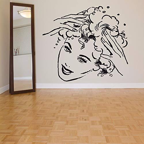 lyclff 40 Colores Arte Vinilo Etiqueta de la Pared Chica Cabeza Peluquería Removeable Etiqueta de la Pared Dormitorio Salón decoración de la Pared Poster Art 57 * 50 cm