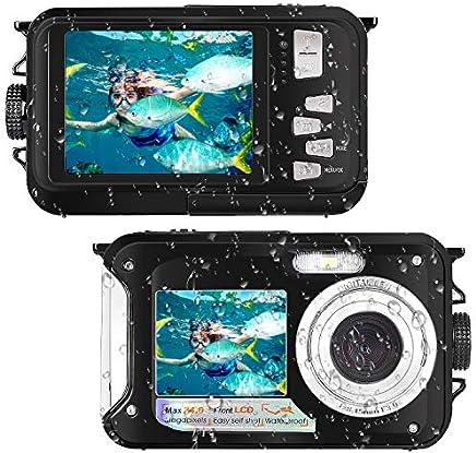 Waterproof Camera Full HD 1080P for Snorkeling 24.0 MP Underwater Camera 2.7 Inch TFT-LCD Dual Screen Waterproof Digital Camera (Black)