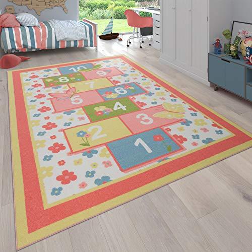Paco Home Alfombra Infantil Habitación Infantil Alfombra Juegos con Flores, Rayuela, Rosa, tamaño:140x200 cm
