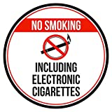 iCandy Products Inc No Smoking Including Electronic Cigarettes Red, Black and White Safety Warning Round Sign - 12 Inch, Metal