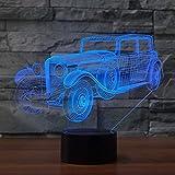 3D-Illusionslampe führte Nachtlicht Kreative antike Auto-Stereoanlage 7 Farbänderungen als Haushaltsdekorationen oder Abschlussgeschenk-Weihnachtsgeschenke