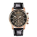 WUAI Women Men's Chronograph Watch Fashion Stainless Steel Leather Wrist Watch Best Gifts Watches Under 10 Dollars