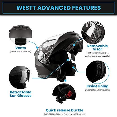 Westt Torque X · Casco Modulare Moto Nero Opaco Doppia Visiera Scooter Motorino · Casco Moto Donna e Uomo · Omologato ECE