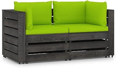 vidaXL Bois Imprégné de Gris Canapé de Jardin 2 Places avec Coussins Sofa de Jardin Canapé d'Extérieur Sofa de Terrasse Meuble de Patio