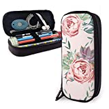 XCNGG Estuche para lápices neceser Stationery Stylish Simple Pencil Bag and Durable Zipper Pencil Case Pouch Makeup Bag for Girls Kids - Roses and Succulents