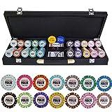 Dsnmm Fichas de póquer Conjunto con Cuero Maleta y Mantel Crown Casino Poker Texas Hold'em Conjunto de Chips Chips Baccarat 200/300/400/500 PCS/Set (Color: 300pcs) (Color : 500pcs)