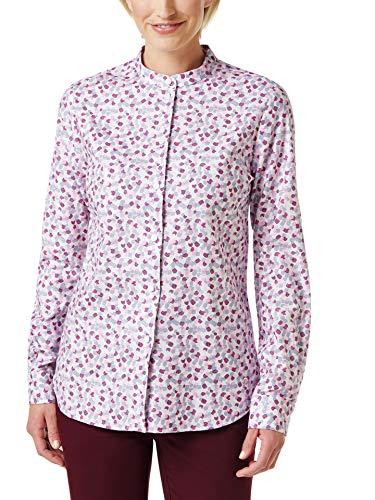 Walbusch Damen Stretchflanell Stehkragen Bluse gemustert Minimal Multicolor 46 -...