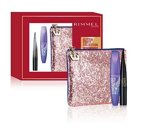 Rimmel - Confezione Regalo - Glimmer Party Collection - Pochette con Mascara Ultra Volume Scandal'Eyes Wow Wings e Eyeliner Conico Waterproof Ultimate Kajal