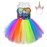 FONLAM Robe Costume de Licorne Fille Robe Fête Baptême Princesse pour Fille Enfants Tutu Fleurs Carnaval (Paillettes Multicolores, 12-24 Mois)