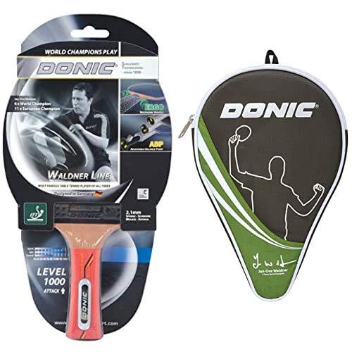 Donic-Schildkröt 751801 Raqueta de Tenis de Mesa Waldner 1000, Mango ABP, Esponja 2.1 mm + Funda para Raqueta de Tenis de Mesa Waldner, Compartimiento Extra de Almacenamientopara para 3 Pelotas