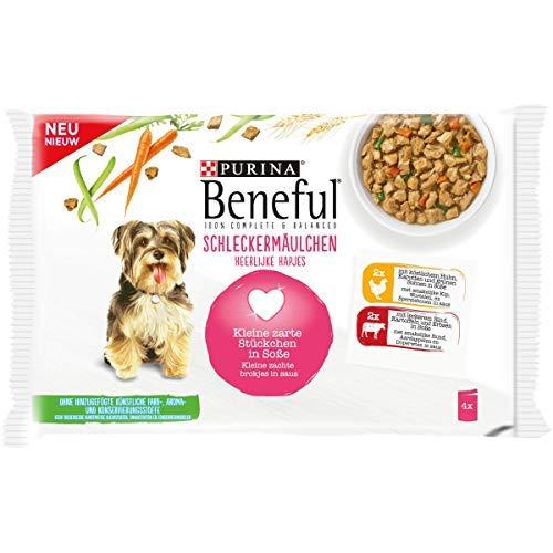 BENEFUL slekkermolchen hondenvoer, pak van 10 (10 x 400 g), Kip & rund.