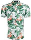 Loveternal Hawaii Hemd Männer Funky 3D Druck Blumen Flamingo Hemd Freizeit Kurzarm Hemden Hawaiian Shirt XL