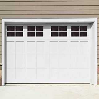 Decorative Magnetic Garage Door Window Panels Vinyl Thick Faux Tinted Glass Decals, Pre Cut 16 Sheets for 1 Car Garage