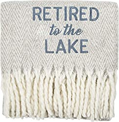 Pavilion Gift Company Lake-Blue 50x60 Inch Embroidered Text Throw Blanket Retirement Gift