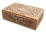 Hand Carved Tree of Life Wooden Box Keepsake Storage Multi Utility