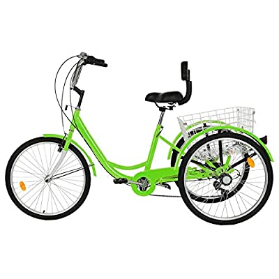 Adult Tricycle 3-Wheel Trike Bike 1/7 Speed Hybrid Cargo Cruiser with Wheeled Basket for Shopping or Dogs Dustproof Bag Exercise Bike for Men Women Bicycle (Green)