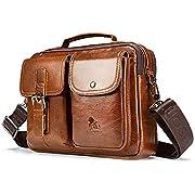 UBaymax Leder Schultertaschen Herren, Kleine echt Leder Umhängetasche Handtasche Ledertasche, Vintage Business Messenger Bag, Hellbraun