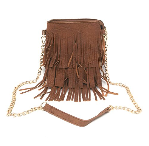 Di Grazia Women's Italian Fringe Cross Body Sling Bag (Chocolate Brown, Brown-Fringe-Golden-Chain-Bag)