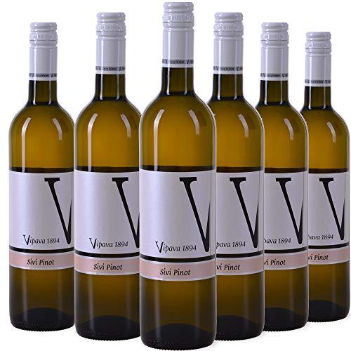VIPAVA 1894 Weißwein (6 x 0,75 l) GRAUBURGUNDER (Pinot Gris - Sivi Pinot) 2019, von Hand gelesener trockener Weißwein