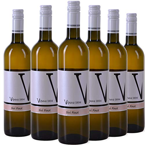 VIPAVA 1894 Vino bianco (6 x 0,75 l) Pinot Grigio (Pinot Gris) 2018, vino bianco secco raccolto a mano