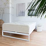 Mnimo - Snow White 12 Inch Metal Bed Frame, Mattress Foundation, Platform Bed, Wood Slat Support, No Boxspring Needed (Queen)