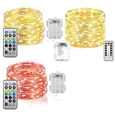 Homemory 3 Pack LED Fairy Lights, 20ft 60LEDs Battery Powered Multicolor Changing String Lights with Remote Waterproof Silver Wire Christmas Lights for Bedroom, Indoor Decoration-13 Colors