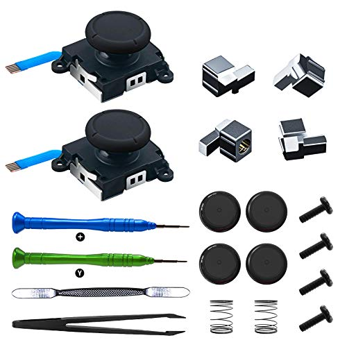 OLCLSS 3D Replacement Analog Joystick Thumb Sticks for N-Switch Joycon Controller with 4 Thumb Stick Caps Joycon Metal Lock Buckles with Latches Replacement Repair Tool Kit(20 in 1)