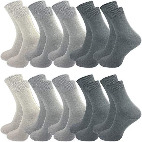 GAWILO 10 Paar Socken aus 100prozent Baumwolle für empfindliche Füße – ohne drückende Naht – Damen und Herren – venenfre&licher Komfortb& (43-46, grau)