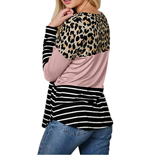 ZuzongYr Camiseta de manga larga para mujer, informal, cuello redondo, a rayas, estampado de leopardo, patchwork, blusa para mujer Rosa. L