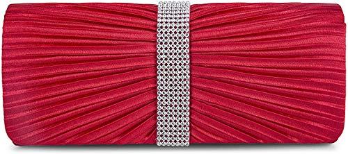 SYMALL Bolso de Noche Bolsa de Embrague de Satén para Boda Fiesta Novia Salida de Noche Cartera de Mano para Mujer, Rojo