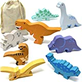 Wooden Dinosaur Toy Set (8 pcs) | Toy Dinosaur Figures with Bag | Dinosaur Playset for Toddlers and Kids | Classic Wooden Baby Toys are Great Gifts and Dinosaur Party Decorations