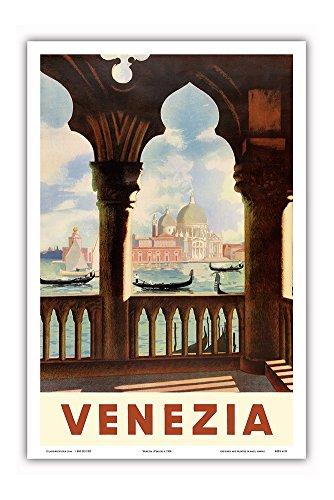 Venezia (Venice), Italy - Gondolas on Grand Canal - St. Mark's Basilica (Basilica di San Marco) - Vintage World Travel Poster c.1938 - Master Art Print - 12in x 18in
